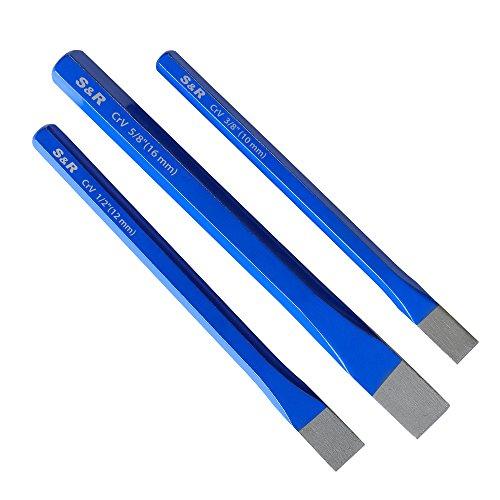 S&R Meißel, Handmeissel, 3-teiliges Set, aus Chrom-Vanadium Stahl, Flachmeißel geschmiedet und gehärtet