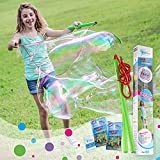 WOWMAZING Giant Bubble Wands Kit: (4-Piece Set) | Incl. Wand, Big Bubble Concentrate and Tips &...
