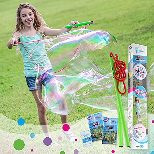 WOWMAZING Giant Bubble Wands Kit: (4-Piece Set) | Incl. Wand, Big Bubble Concentrate and Tips & Trick Booklet | Outdoor Toy for Kids, Boys, Girls | Bubbles Made in The USA - Standard Kit