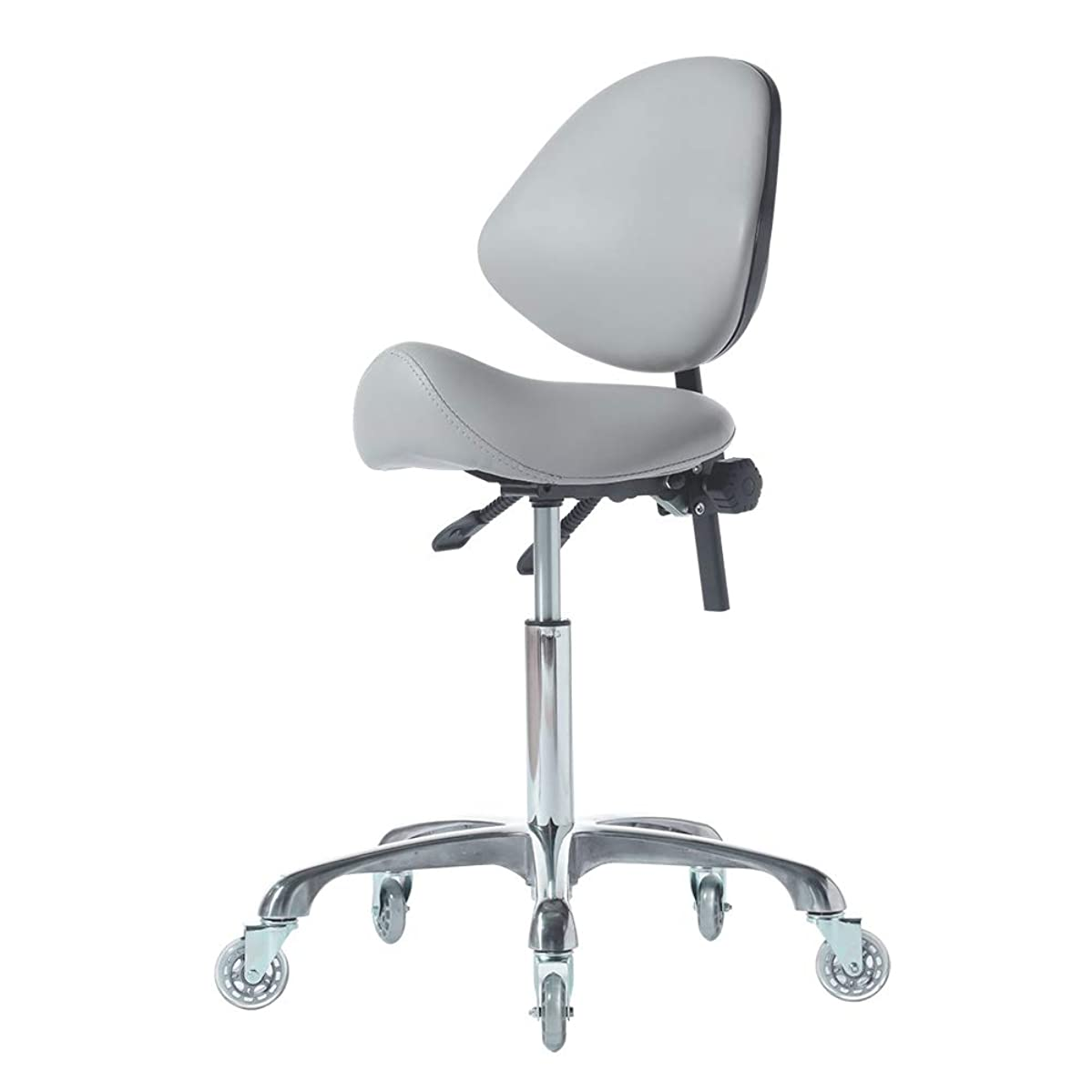 FRNIAMC Adjustable Saddle Stool Chairs With Back Support Ergonomic Rolling Seat For Medical Clinic Hospital Lab Pharmacy Studio Salon Workshop Office And Home(Light Grey)