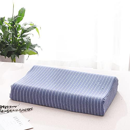 MRBJC Almohada suave para el cuello, diseño de rayas, para dormir, látex, espuma viscoelástica, almohada de cama para dormir lateral, espalda azul (espuma de memoria) 50 x 30 x 7/9 cm