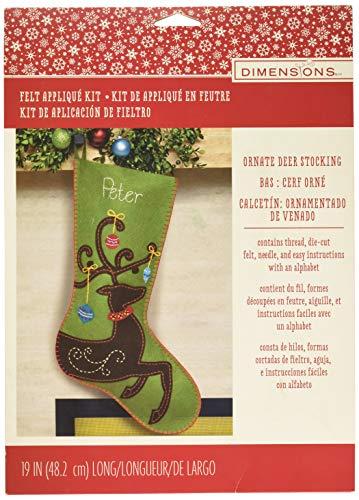 DIMENSIONS Ornate Reindeer Wool Felt Christmas Stocking Kit, 19''