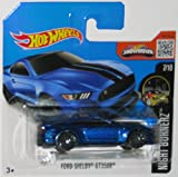 FORD SHELBY GT350R Hot Wheels 2016 Night Burnerz Series Sporty Blue Shelby 1:64 Scale Collectible Die Cast Metal Toy Car Model #7/10 on International Short Card by California