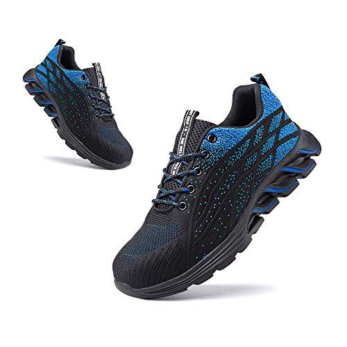 Zapatos de Seguridad Hombre Punta de Acero Botas de Seguridad Mujer Deportiva Zapatillas Trabajo Unisex Antideslizante Respirable 1 Azul Talla 46
