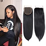 100% Unprocessed Human Hair Closure Top Closure Brazilian Straight Lace Closure Human Hair Free Part (14inch)