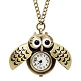 LightOnIt Vintage Cute Flying Owl Pocket Watch Pendant Long Chain Sweater Necklace for Men Boys Girls Gift (Wings)