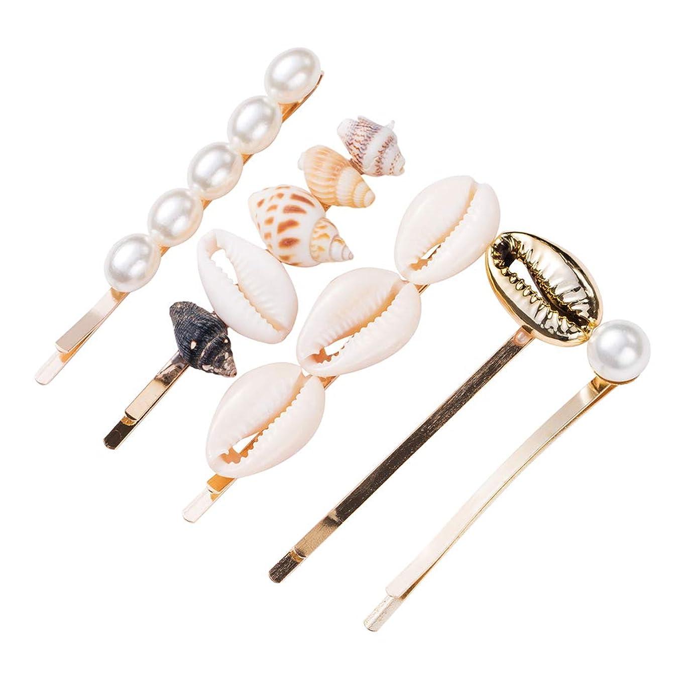 噛む確立しますテラスKimyuo 5ピース/セットオーシャン巻き貝貝殻金属合金ヘアピン女性ビーチホリデーヘアスタイリングバレット模造真珠サイド前髪ヘアクリップ