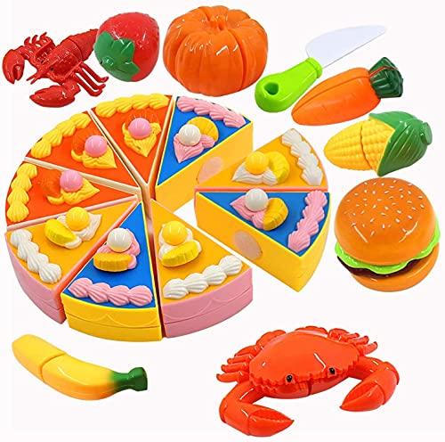 PHYLES Juguetes de cocina para niños, vajilla para cortar frutas, verduras, alimentos, aprendizaje, juego de rol, juguetes educativos, regalo de 10 unidades