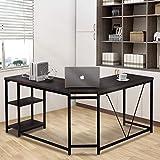Merax L-Shaped Office Desk Workstation Computer Desk Corner Desk Home Office Wood Laptop Table Study Desk (Rustic Espresso)