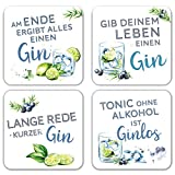 Interluxe LED Untersetzer 4er Set mit GRATIS BATTERIEN - Gin Tonic - Vier leuchtende Cocktail Untersetzer für Gläser als Party Bar Zubehör