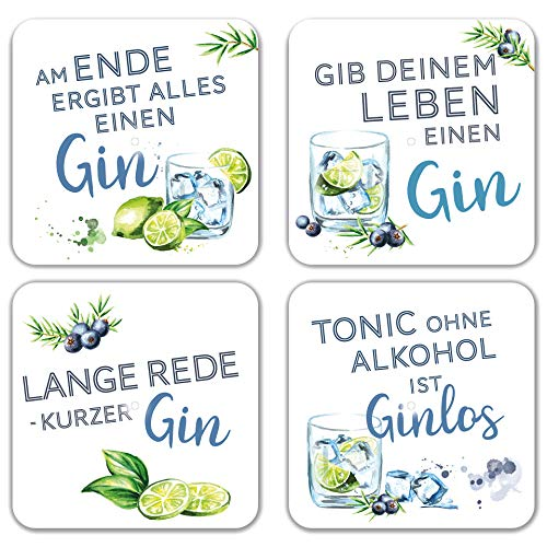 Interluxe LED Untersetzer 4er Set mit GRATIS BATTERIEN - Gin Tonic - Vier leuchtende Cocktail Untersetzer für Gläser als Party Bar Zubehör