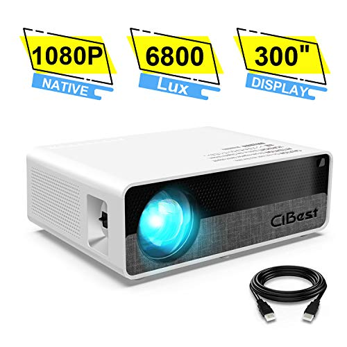 ProjectorCiBest Q9 Native 1080P HD Video Projector 6800 Lux up to 300quot Image 2K SupportedDisplay Ideal for PPT Business Presentations Home Theater Entertainment Parties Games