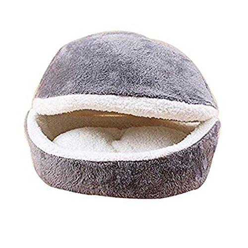 WYSBAOSHU Hamburguesa Diseño Cama para Mascotas en Forma de Concha del Gato del Saco de Dormir (Gris)
