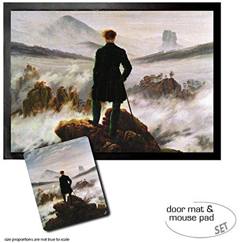 1art1 Caspar David Friedrich, El Caminante sobre El Mar De Nubes, 1818 Felpudo Alfombra (70x50 cm) + Alfombrilla para Ratón (23x19 cm) Set Regalo