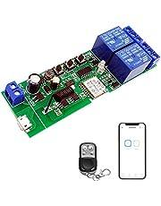 Newgoal WiFi Draadloze Smart Switch Tippen Zelfsluitende Relaismodule, toegepast op Toegangscontrole Tuya SmartLife APP, DIY Garagedeuropener met 433 MHz RF Afstandsbediening (DC2EW-RF)