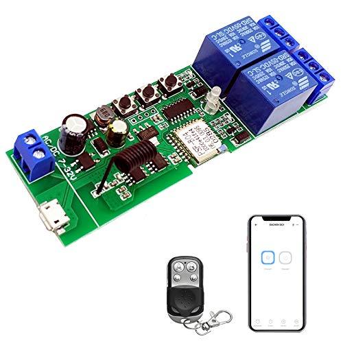 Newgoal 2 canales WiFi interruptor relé Ewelink App control remoto puerta de garaje 433MHz RF, autobloqueo, modo de interbloqueo, compatible con Alexa Goolge