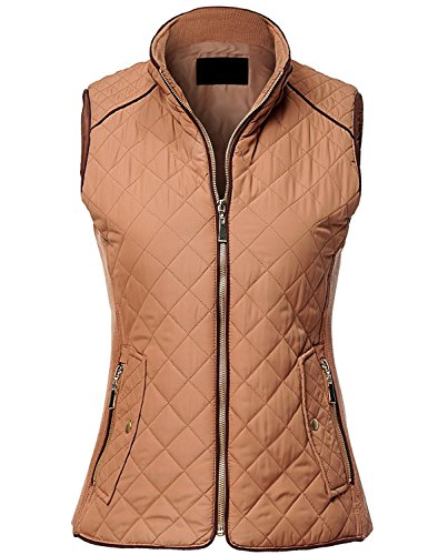 MAYSIX APPAREL Sleeveless Lightweight Zip Up Quilted Padding Vest Jacket for Women NEWCAMEL S