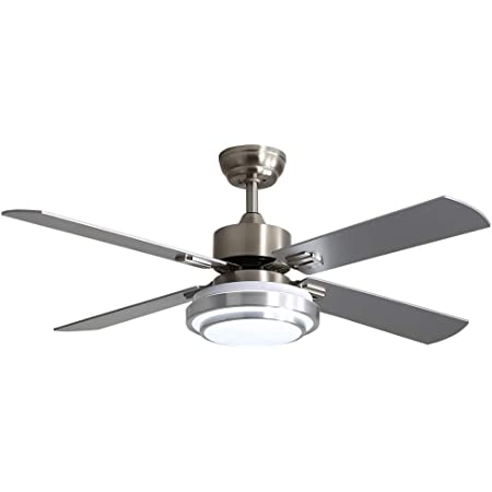 Amazon Brand Stone Beam Remote Controlled 5 Blade Ceiling Fan With Light 52 Diameter Brushed Nickel