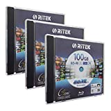 3 Pack Ritek BD-RE XL Rewritable BDXL 100GB Triple Layers 2X White Inkjet Hub...
