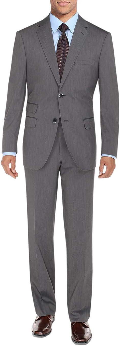 DTI BB Signature Men's Two Button 2 Piece Suit Ticket Pocket Jacket with Pant