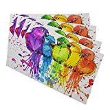 Mugod Funny Parrots Placemats Watercolor Tropical Nature Cute Birds Decorative Heat Resistant Non-Slip Washable Place Mats for Kitchen Table Mats Set of 4 12'x18'