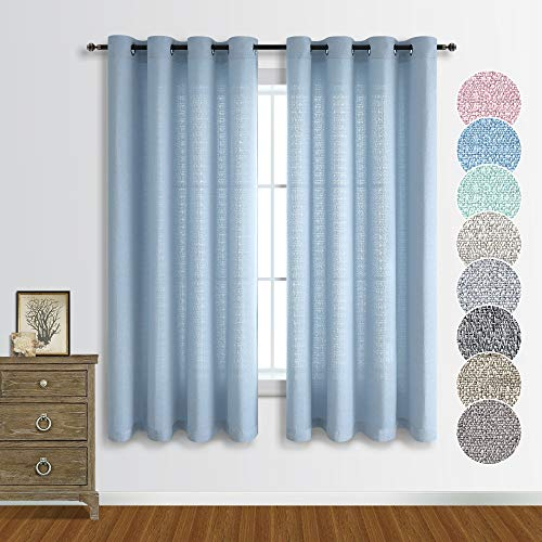 Sheer Linen Look Curtains 63 Inch Length Bedroom Window Treatments for Living Room Rich Linen Light Filtering Semi Transparent Curtain Drapes Blue Grommet Burlap Curtains 52x63 Set of 2 Panels