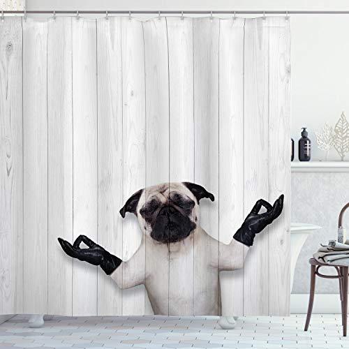 ABAKUHAUS Tier Duschvorhang, Lustige Mops Meditieren, Moderner Digitaldruck mit 12 Haken auf Stoff Wasser & Bakterie Resistent, 175 x 200 cm, Schwarz Weiß