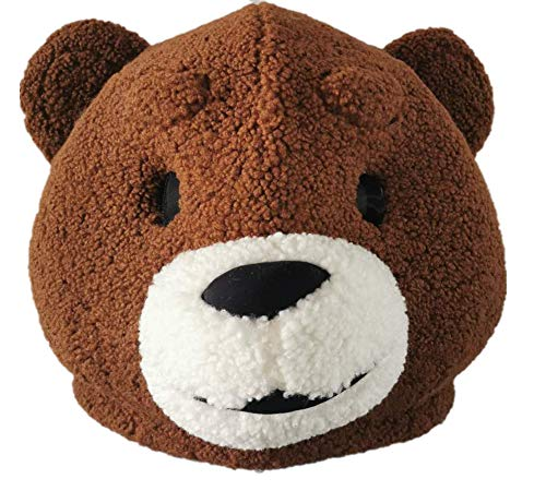 Disfraz de oso de oso marrón con cabeza de mascota de peluche, máscara de animales para adultos, vestido de fiesta de Navidad