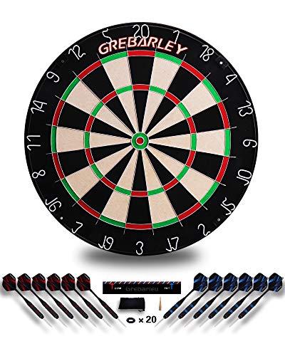 Grebarley Dartscheibe Sisal Offizielles mit Pfeilen Turniermaß Dart Scheibe Dartboard Steeldartscheibe Steeldart Dartscheiben Set Schutz