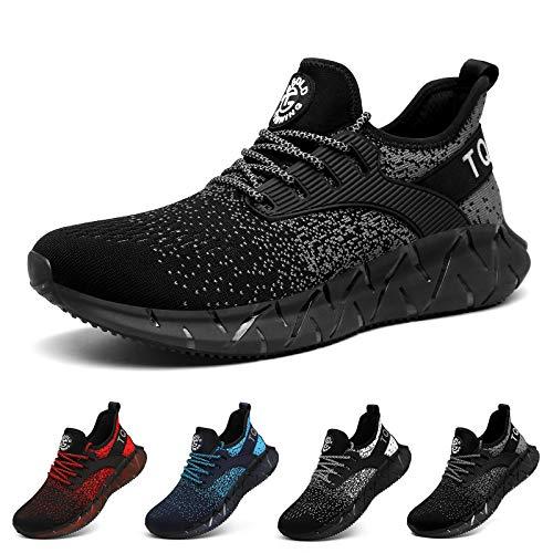 AONETIGER Zapatillas Deporte Hombre Mujer Deportivas Zapatillas de Trail Running Ligero Fitness Gym Zapatos para Casual Gimnasio Correr Sneakers Athletic Transpirables(Talla 44EU, Negro)