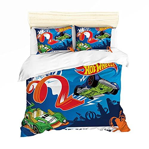 NICHIYOBI Hot Wheels Juego de ropa de cama – Funda nórdica y funda de almohada, microfibra, impresión digital 3D de tres piezas (3,SK 260 x 220 cm + 80 x 80 cm)