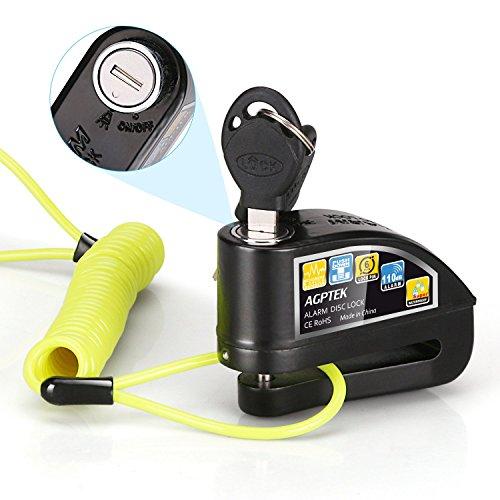 AGPTEK Candado de Disco con Alarma Antirrobo Acero 6mm 110DB con Cable Enrollado de 1.6M para Moto Motocicleta, Color Negro+...