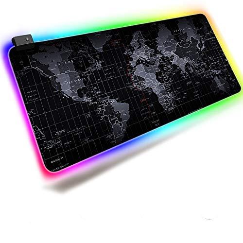 EXCO RGB Gaming Mouse Pad XXL Tamaño grande 80 × 30cm, Alfombrilla de ratón LED suave extendida con borde cosido, Alfombrilla de escritorio mundial Soporte para juegos