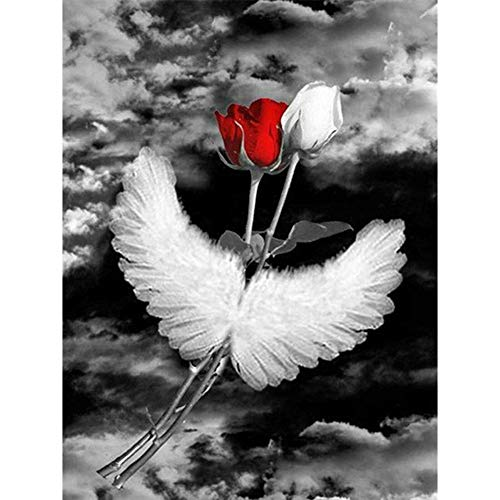 DIY Diamond Painting Kits for Adults, Kids,Office Decor Room House Presents for Her Him Red and White Rose with Wings 11.8x15.7Inches