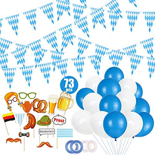 Bluelves Kit de Decoraciones Oktoberfest, Oktoberfest Octoberfest Party Supplies, Suministros para Fiestas de Octoberfest Banderín bávaro Pancarta con Letrero Globos (57pcs)