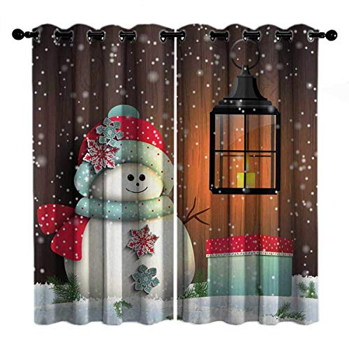 Toopeek Garden with Gift Box Wear-Resistant Color Curtain Christmas White Brown 2 Panel Sets W84 x L108 Inch