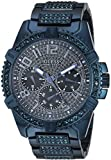 GUESS Stainless Steel Iconic Blue Crystal Embellished Bracelet Watch with Day, Date +