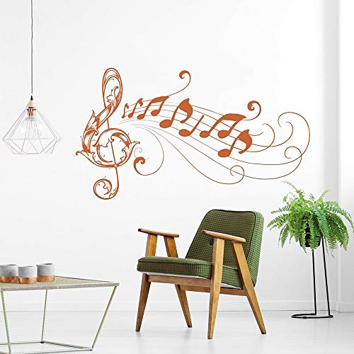 WSYYW Large Music Note Wall Decal Music Flower Vinyl Wall Sticker Music Classroom Kids Room Decoration Art Wallpaper A3 100X57CM