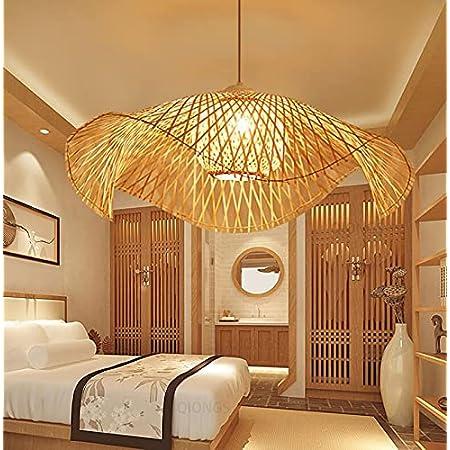 Lampe à suspension rétro en bambou rétro lustre plafonnier en bambou plafonnier en rotin plafonnier E27 restaurant salon de thé chambre lampe suspendue en bambou plafonnier bambou