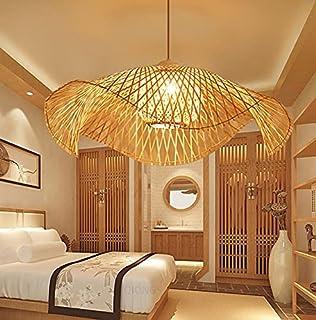 Lampe à suspension rétro en bambou rétro lustre plafonnier en bambou plafonnier en rotin plafonnier E27 restaurant salon d...