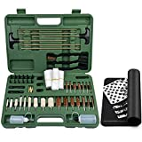 iunio Universal Gun Cleaning Kit, with Mat, Carrying Case, for Rifle, Pistol, Handgun, Shotgun, Hunting, Shooting, All Caliber (Green)