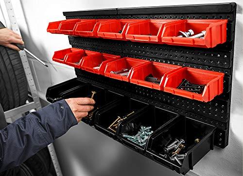 Deuba® Wandregal + Stapelboxen ✔ 32 tlg Box ✔ extra starke Wandplatten ✔ Regal erweiterbar ✔ Werkstattregal Lagerregal Werkstattwandregal Steckregal - 3