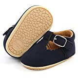 SOFMUO Baby Girl Mary Jane Flats Shoes Non Slip Soft Sole Infant Toddler First Walker Wedding Princess Dress Crib Shoes(A0/Suede/Navy,6-12 Months