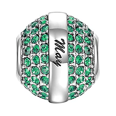 SOUFEEL May Birthstone Charm Dark Green Swarovski Crystal 925 Sterling Silver Charms for Bracelet for Mother's Day