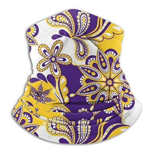 Hustor - Pasamontañas para el cuello, color morado y amarillo, diseño de mandala, para exteriores, festivales, deportes