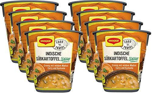 Maggi Food Travel Cup Indische Süßkartoffelsuppe, cremig mit mildem Madras Curry und Kurkuma, 8er Pack (8 x 35g)