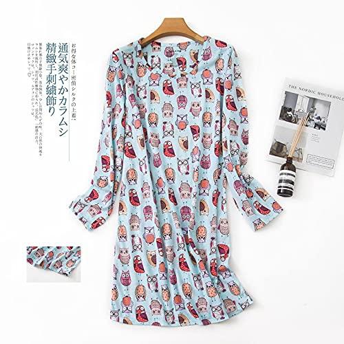 Camisón Sexy Pijamas Vestido De Noche De Dibujos Animados Kawaii para Mujer, Camisones De Manga Larga De Algodón De Punto, Ropa De Dormir para Mujer, Vestido De Dormir Lindo Corean 🔥