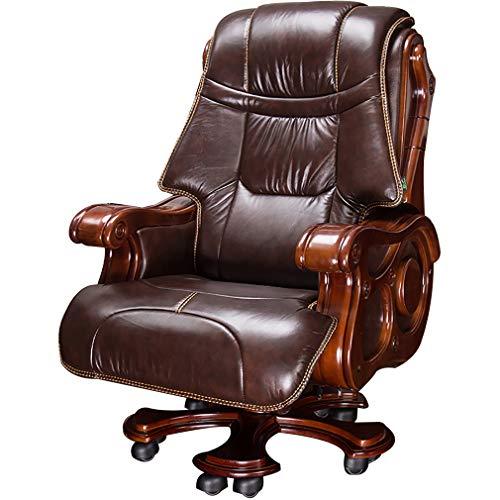 ROMX Bürostuhl Echt-Leder Schreibtischstuhl Polsterung Chefsessel Hohe Rückenlehne Mit Armlehnen Und Sockel Aus Massivem Holz Drehsessel Höhenverstellbar