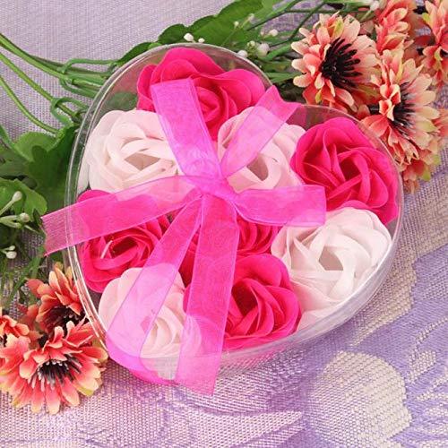 Andouy Künstliche Rose Kunstwerk Seifenblumen Seife Blütenblatt Plant ätherisches Öl Seife Familien Badezimmer Hotel Dekoration(11x11x4cm.Pink-2)
