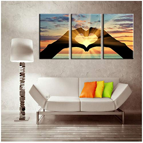 Zhaoyangeng mooi beeld van de oceaan harten op canvas schilderijen Poster Printer Wall Art Photo Home Decoration- 40X60Cmx3 Geen frame